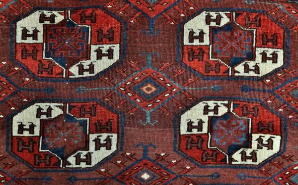 Detail of Yomud main carpet. Exhibitor Mete Mutlu