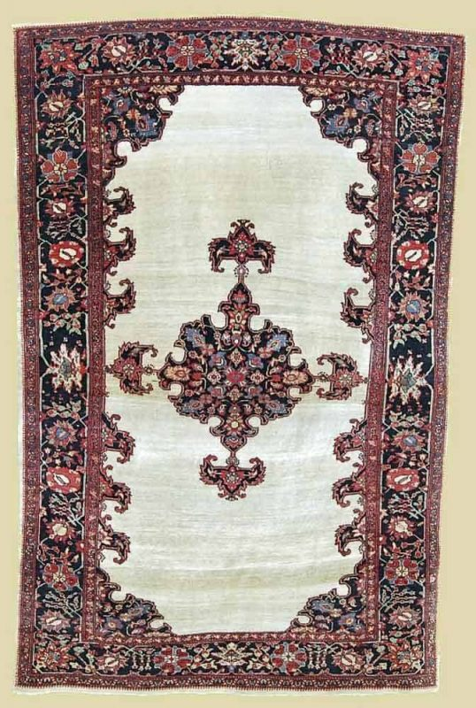 20150630 4.8 x 7.1 open field Fereghan Sarouk ivory Circa 1890 538x800 - Persian rugs at the ICOC Carpet Fair