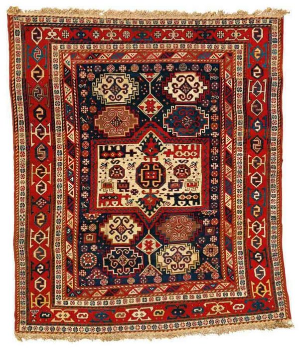 Lot 12. A Kazak rug, Southwest Caucasus, approximately 7ft. 6in. by 6ft. 3in. (2.29 by 1.90m.), late 19th century. Estimate  6,000 — 8,000  USD