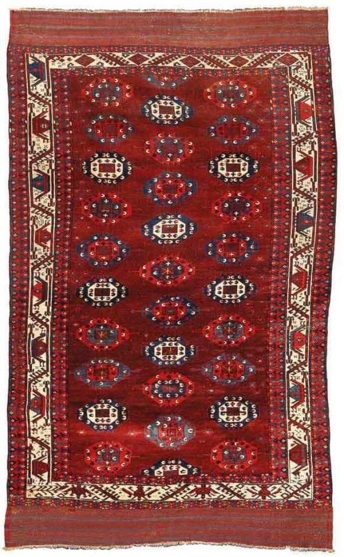 Lot 40. A Yomud C-gül main carpet, West Turkestan, approximately 8ft. 8in. by 6ft. 2in. (2.64 by 1.88m.), late 18th century. Estimate  80,000 — 120,000  USD