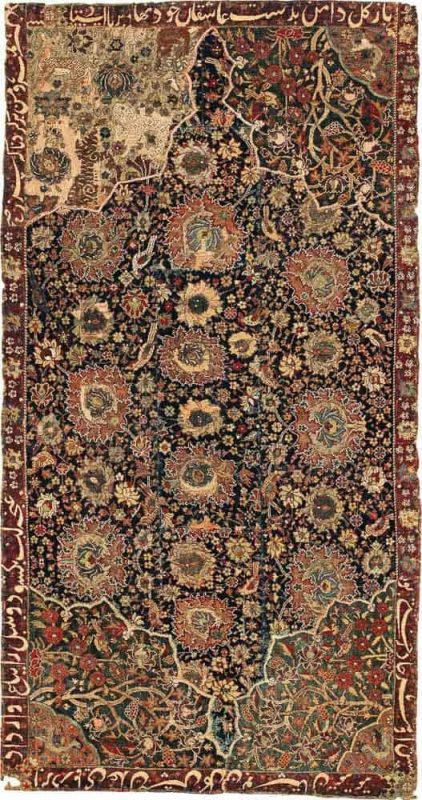 Lot 66. A Safavid part-cotton and part-metal-thread fragmentary rug, Kashan or Isphahan. Approximately 4ft. 4in. by 2ft. 3in. (1.32 by 0.69m.), second half 16th century. Estimate  40,000 - 60,000  USD