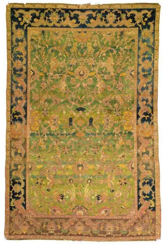 Lot 68. A 'Polonaise' silk and metal-thread rug, Isphahan or Kashan, Central Persia, approximately 6ft. 10in. by 4ft. 5in. (2.08 by 1.35m.), 17th century. Estimate  800,000 — 1,200,000  USD
