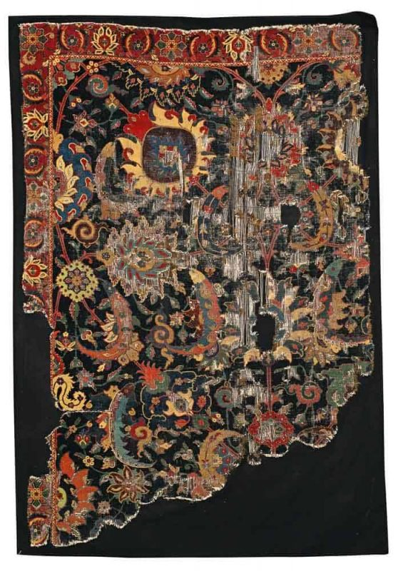 Lot 98. A Safavid 'Vase-technique' carpet fragment, possibly Kirman, Southeast Persia, approximately 6ft. 1in. by 4ft. 1in. (1.85 by 1.24m.), late 16th century. Estimate 150,000 — 200,000 USD