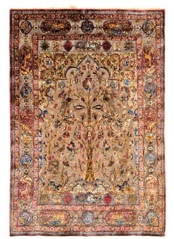 Lot 46, a Kashan silk souf, Persia 1880, 197 x 134 cm. Estimate € 14.000 – 18.000