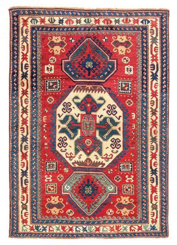 Lot 62, a Lori Pambak Kazak, Caucasus 1860, 221 x 162 cm. Estimate € 40.000 – 60.000