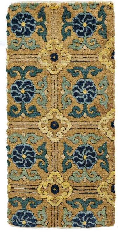 Lot 84, a Ming Imperial Carpet Fragment, China, 16th century, 4 ft. 5 in. x 2 ft. 1 in. Estimate $8,000-10,000