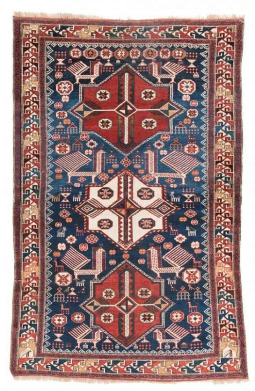 Lot 127. Akstafa, 203 x 130cm (6ft. 8in. x 4ft. 3in.). Caucasus second half 19th century (Austria Auction Company 21 July 2016)