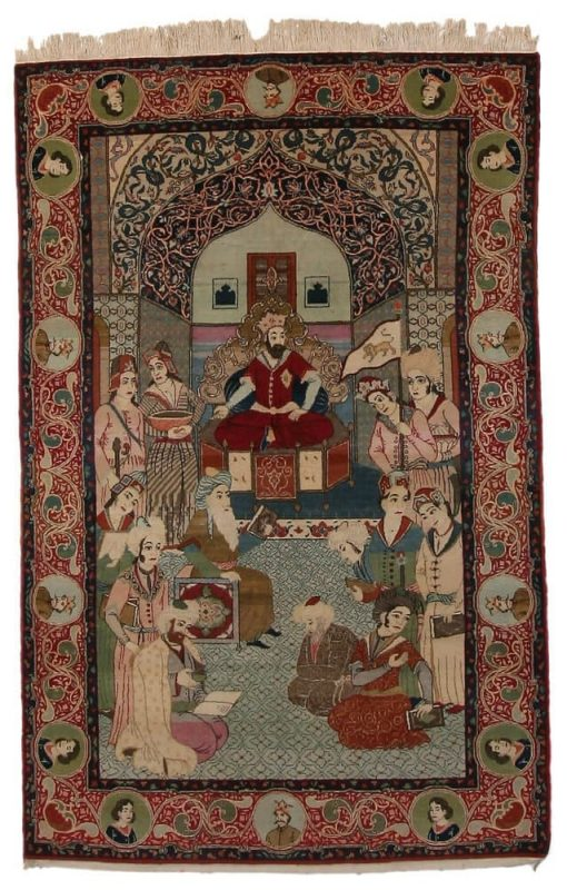 A Kashan figural rug, Persia. Nader Shah at the throne surrounded by servants, people to amuse and entertain him, main border with cartouches with portraits. C. 1960. 213 x 135 cm. Est. 1150-1300.- Euro