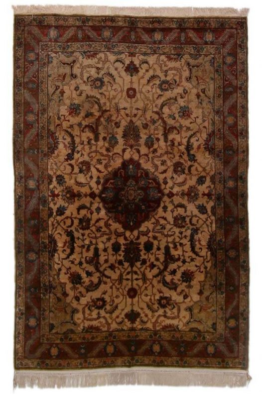 A full silk Qum rug, Persia. All over stylized entwined branches. C. 1960. 208 x 138 cm. Est. 1350-1600.- Euro.