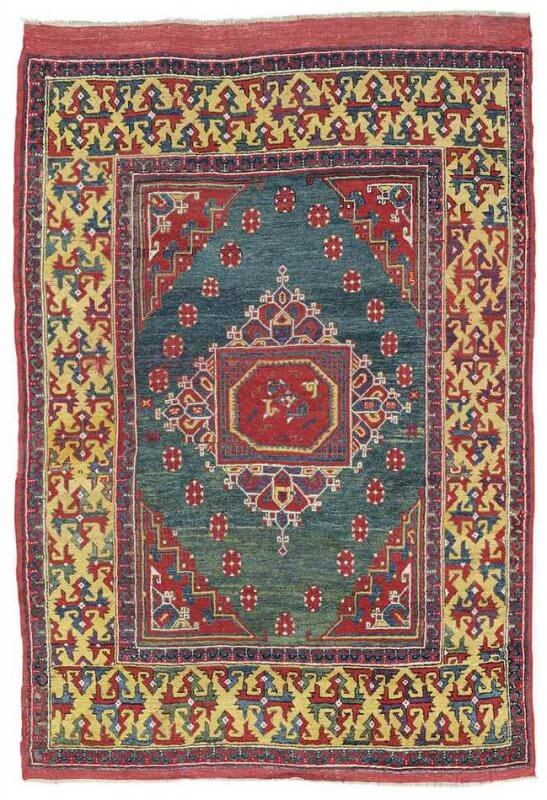 Lot 306, a West Anatolian Ghirlandaio rug, late 17th century. Estimate 40.000-60.000 GBP