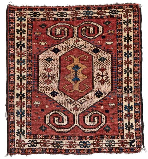 "Lot: 88 Austria Auction Company ""Fine Antique Oriental Rugs XIV"" 30 March 2019Kirghiz133 x 120 cm (4 ft. 4 in. x 3 ft. 11 in.)Kyrgyzstan, second half 19th century"