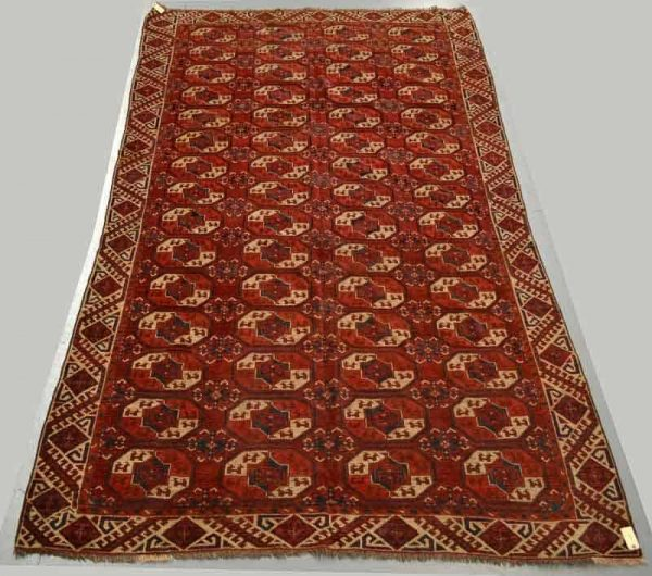 Lot 1974, a Kizil Ayak 4 x 15-tauk nuska gol main carpet, Turkmenistan or north Afghanistan, mid-19th century, Estimate: £1500-2000