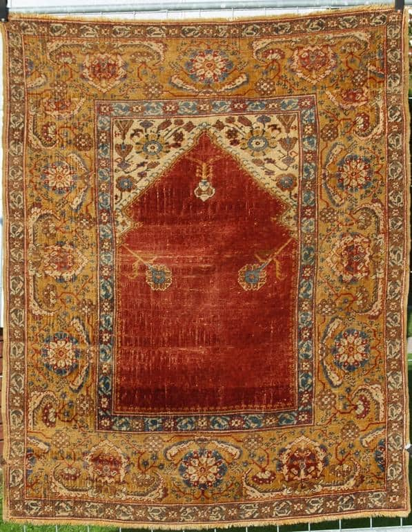 """Transylvanian"" prayer rug, so called ""Siebenbürger Teppich"", Ottoman Empire 17th. century. (Exhibitor Hans Homm at the Antique Rug and Textile Show 2009)"