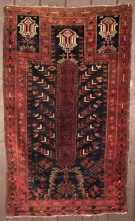 19th century Baluch prayer rug. Exhibitor Ron Hort