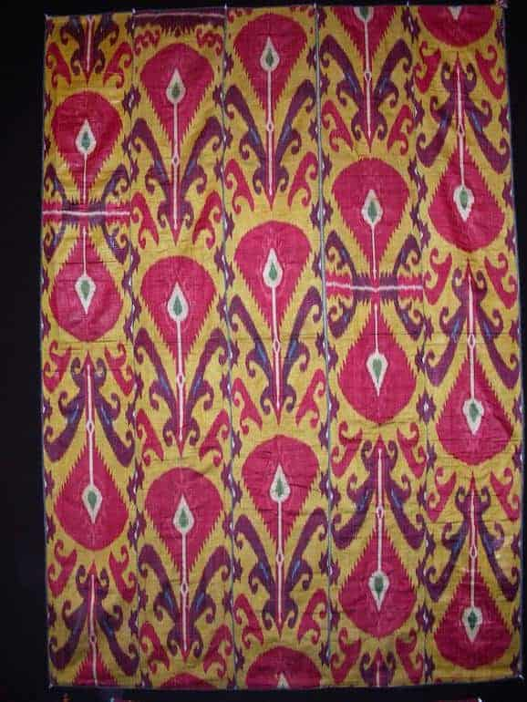 Yellow background Ikat panel. Exhibitor Casey Waller