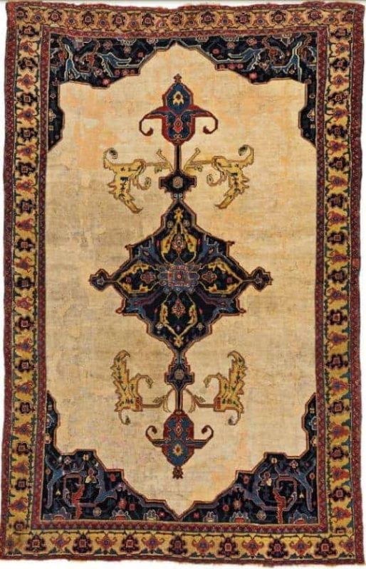 Lot 25. Senneh 7ft. 10in. x 5ft. 0in. Persia, mid 19th century. Estimate: € 4500 - 6500