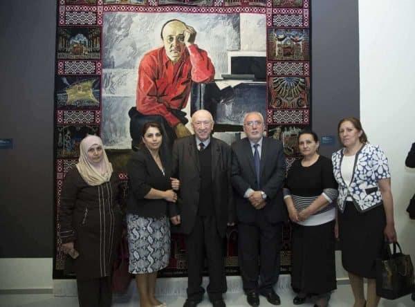 Tahir Salakhov with Tarier Bashirov and weavers