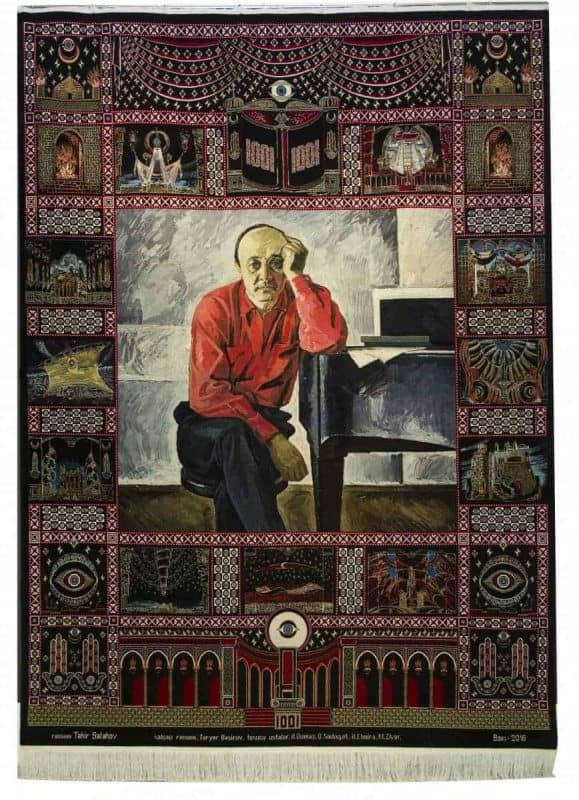 Carpet Fikrat Amirov. A Thousand and One Nights. Azerbaijan. 2016. Wool, cotton. Pile, handmade. 248x342 cm. It was woven on the base of Tahir Salakhov's painting. Sketch author: T.Bashirov