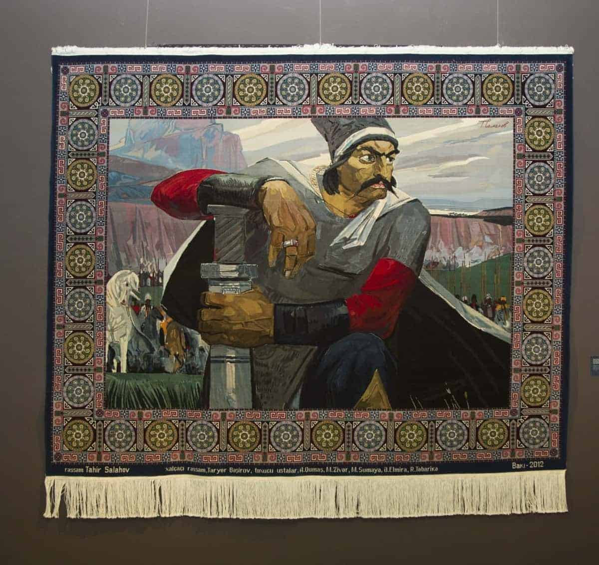 Carpet Koroghlu. Azerbaijan. 2012. Wool, cotton. Pile, handmade. 255x204 cm. It was woven on the base of Tahir Salakhov's painting. Sketch author: T.Bashirov