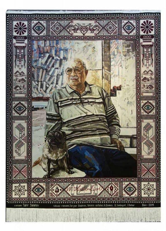 Carpet Maksud Ibrahimbeyov. Azerbaijan. 2015. Wool, cotton. Pile, handmade. 201x262 cm. It was woven on the base of Tahir Salakhov's painting. Sketch author: T.Bashirov