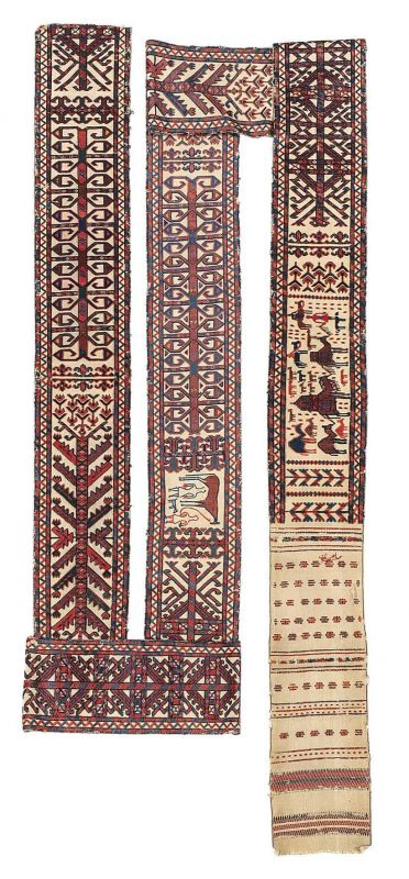 Yomud Ag Yüp tent band fragment, West Turkestan, ca. 935 x 32 cm, early 19th cent. Estimate €10,000 – 12,000