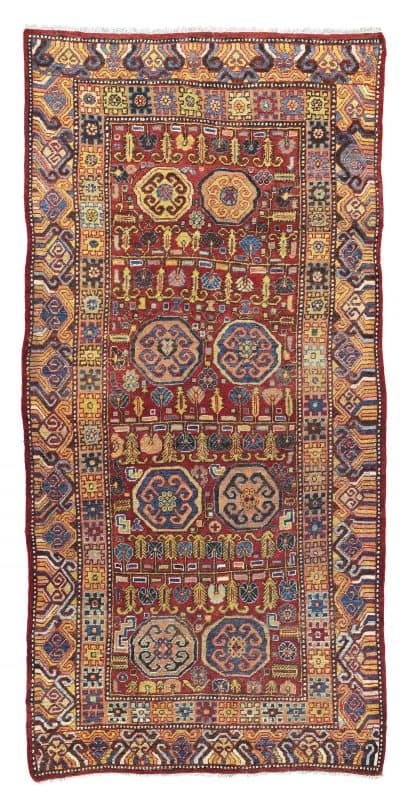 Lot 288. Khotan carpet possibly from Aksu East Turkestan. Late 18th to early 19th century