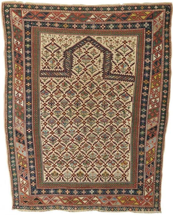Lot 303 Daghestan prayer rug. Grogan Spring Auction including antique carpets