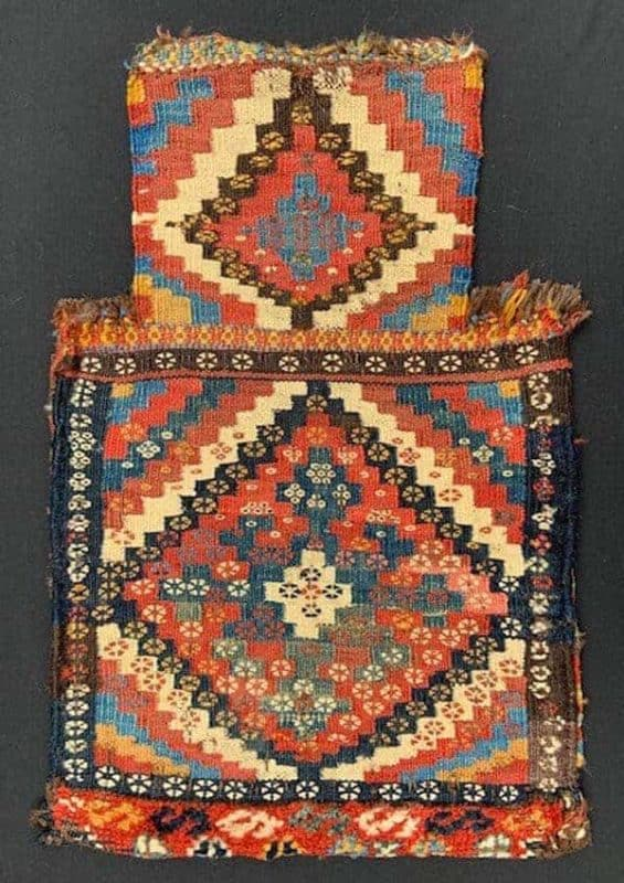 19th century Afshar Varamin salt-bag, north western Persia. Exhibitor Brian McDonald at Hali Fair