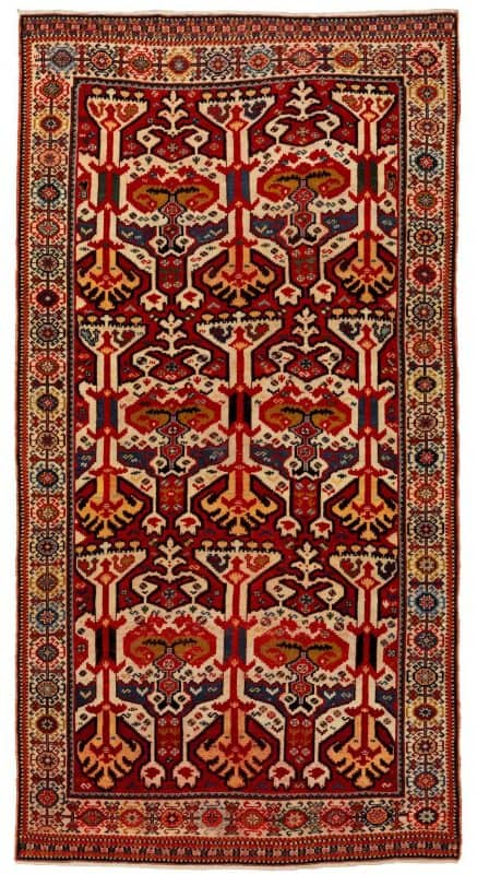 QASHQAI KASHKULI tribes, Southwest Persian, with an Amazing Silk Ikat design. Age 1860-1870. Exhibitor David Sorgato at Hali Fair