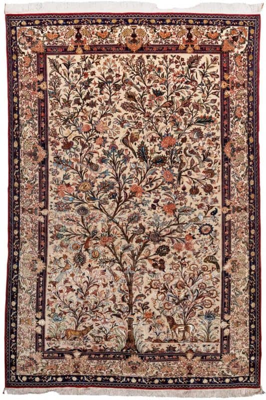 Three of Life Persian Ghom Silk & Wool rug from 1930-50. Exhibitor David Sorgato at Hali Fair