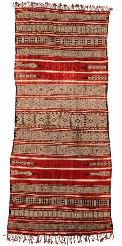 Woman's bridal head and shoulder cover, mouchtiya. Central Tunisia, Basses Steppes, Zlass tribe. Wool and cotton brocade, early 20th century. Menzel Galerie Nordafrika at Hali Fair