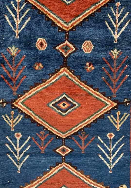 Antique Qashqai Gabbeh rug ca 1900, south Persia. Exhibitor Andy Lloyd