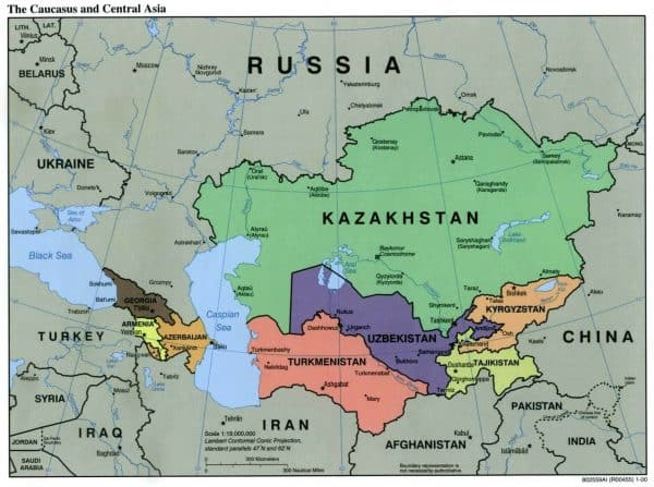 caucasus cntrl asia pol 00 600x447 - Maps of Turkey, Iran, China and more