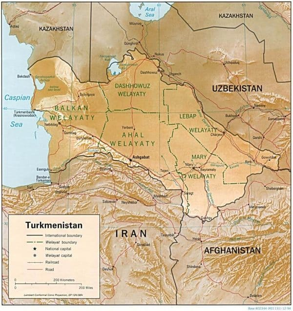 turkmenistan relief 600x638 - Maps of Turkey, Iran, China and more