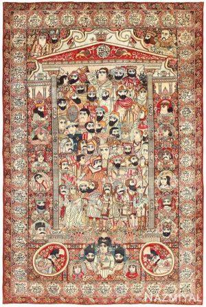 ANTIQUE MASHAHIR PERSIAN 'LEADERS OF THE WORLD' PICTORIAL KERMAN CARPET